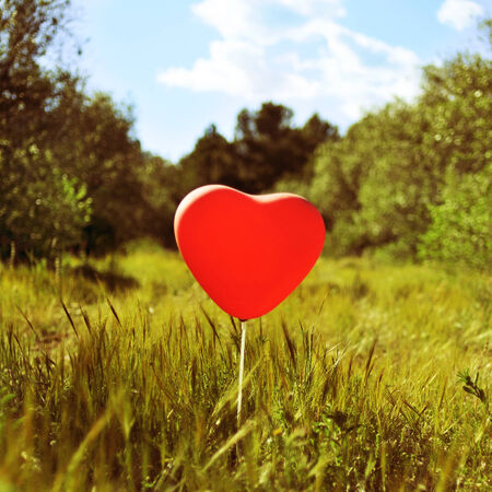 a heart-shaped balloon in a country landscape, with a retro effect photo
