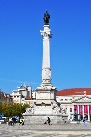 Lisbon, Portugal - March 17, 2014  View of Rossio Square, with the Column of Pedro IV in the foreground in Lisbon, Portugal  The square is in the heart of Lisbon Banco de Imagens - 28240522