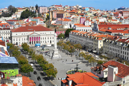 Lisbon, Portugal - March 18, 2014  Aerial view of Rossio Square, with the National Theatre Dona Maria II in the front in Lisbon, Portugal  The square is in the heart of Lisbon Editorial