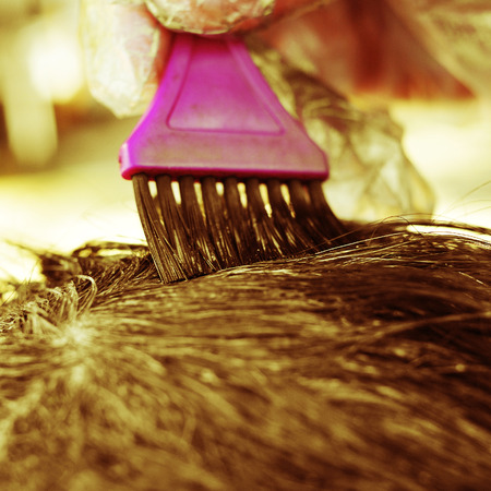 colorant: someone applying hair dye with a brush Stock Photo