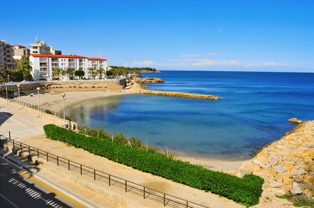 the dorada: view of Alguer Beach in Ametlla de Mar, Spain Stock Photo