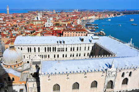 ducale: aerial view of San Marco and Castelo districts in Venice, Italy, with the Palazzo Ducale in the foreground Stock Photo