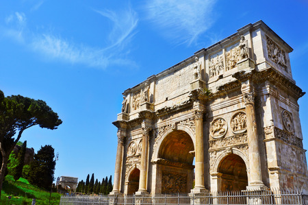 constantine: a view of the Arch of Constantine in Rome, Italy