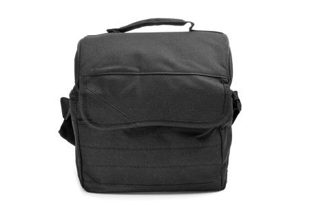 a black multipurpose bag on a white  photo