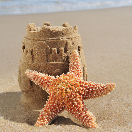 a starfish and a sandcastle on the sand of a beach photo