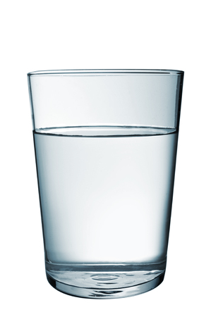 thirstiness: a refreshing glass of water on a white background