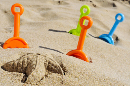 sand mold: a starfish sand and some toy shovels of different colors on the sand