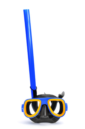 snorkelers: a blue, yellow and black diving mask and a snorkel on a white background