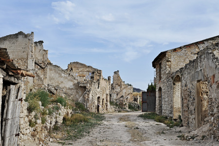 ebre: view of Poble Vell de Corbera dEbre in Spain, a town completly destroyed during the spanish civil war Stock Photo