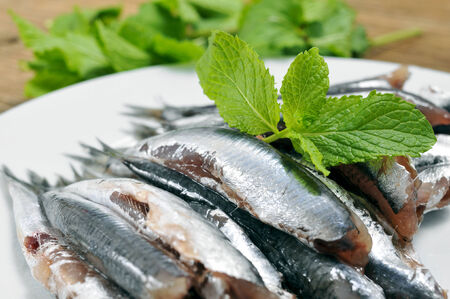 engraulis: a plate with some raw spanish boquerones, anchovies typical in Spain, ready to be cooked Stock Photo