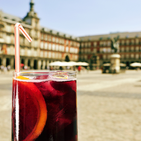 closeup of a glass of tinto de verano, a popular summer beverage made with red wine, in Plaza Mayor in Madrid, Spain