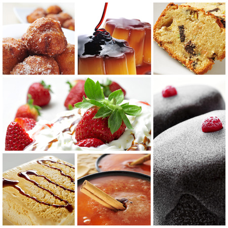 flan: a collage of seven pictures of different international desserts Stock Photo