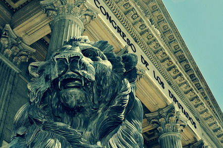 detail of the Spanish Congress of Deputies in Madrid, Spain, with a retro effect photo