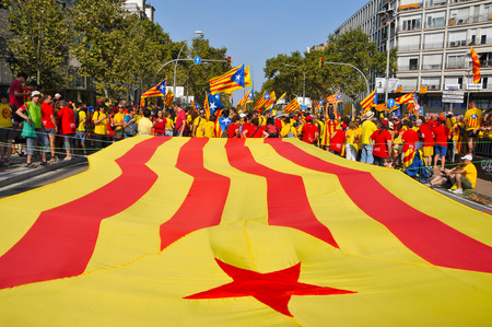 separatist: Barcelona, Spain - September 11, 2014: 1.8 million people demand to vote in a referendum for the independence of Catalonia, in Barcelona, Spain, during the National Day of Catalonia Editorial