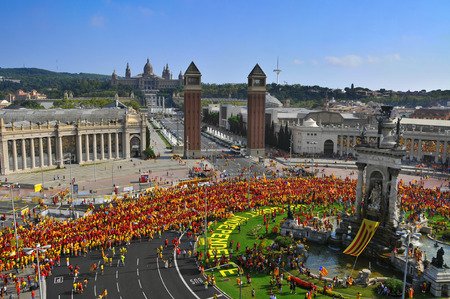 separatism: BARCELONA, SPAIN - SEPTEMBER 11: 1.8 million people demand to vote in a referendum for the independence of Catalonia on September 11, 2014 in Barcelona, Spain, during the National Day of Catalonia