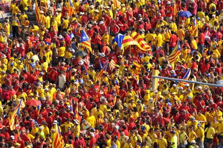 separatism: Barcelona, Spain - September 11, 2014: 1.8 million people demand to vote in a referendum for the independence of Catalonia, in Barcelona, Spain, during the National Day of Catalonia Editorial