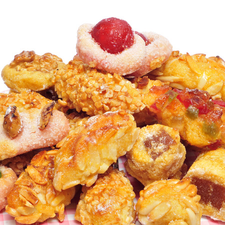 panellets: a pile of panellets, typical pastries of Catalonia, Spain, eaten in All Saints Day