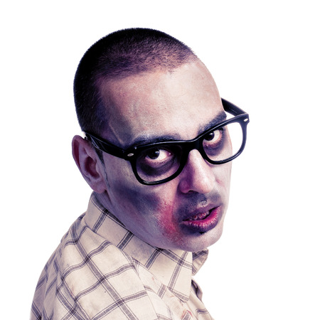 rimmed: portrait of a hipster zombie with black plastic-rimmed eyeglasses against a white background