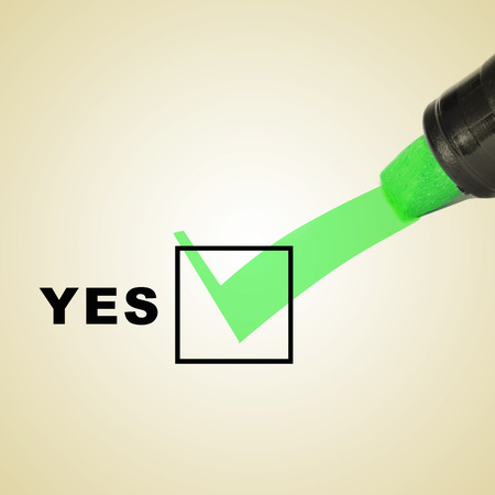 acceptation: a check mark drawn with a green marker pen on a checbox with the word yes