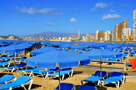 playa blanca: view of Levante Beach in Benidorm, Spain