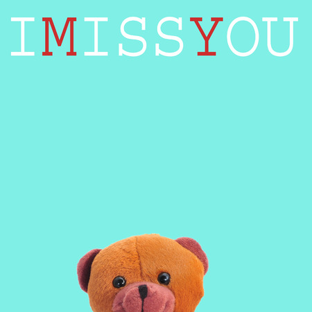 a teddy bear and the text I miss you on a blue background photo