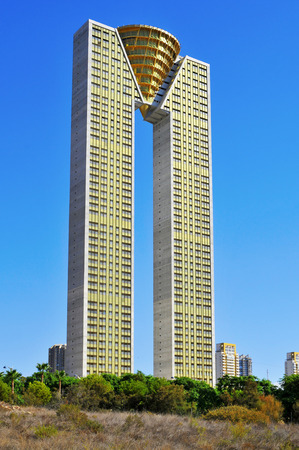 nicknamed: Benidorm, Spain - September 23, 2014: In Tempo building in Benidorm, Spain. This is the tallest building in Benidorm, a popular resort town, nicknamed Beniyork by the large number of skyscrapers Editorial
