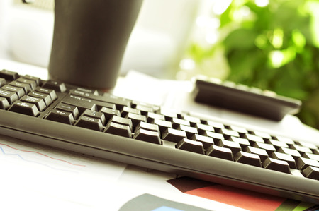 detail of a desk in an office with a nice atmosphere photo