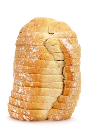bread loaf: una pagnotta di pane a fette su uno sfondo bianco