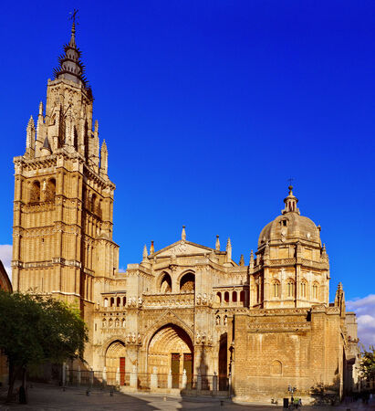 toledo town: view of the main facade of the Cathedral of Saint Mary of Toledo, Spain Stock Photo