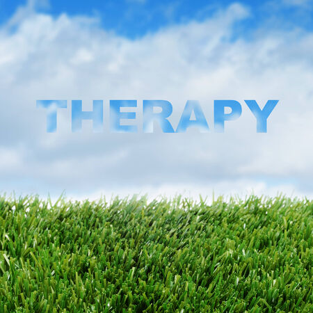 closeup of grass over the sky with clouds and the word therapy photo