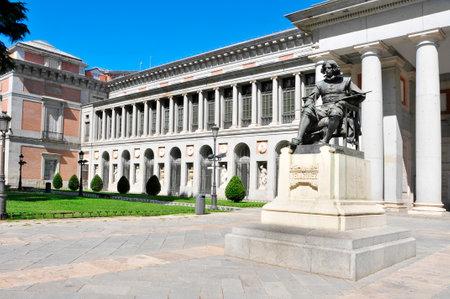 monument to Velazquez in Paseo del Prado, in front of the Puerta de Velazquez entrance to the Museo del Prado in Madrid, Spain
