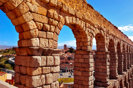 acueducto: a view of the Roman Aqueduct of Segovia, in Spain