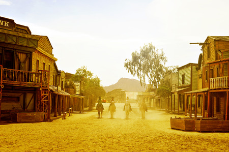 Tabernas, Spain - September 18, 2014: Cowboys show in an old west town in Fort BravoTexas Hollywood in Tabernas, Spain. Fort Bravo is the biggest backlot of western style in Europe 新闻类图片