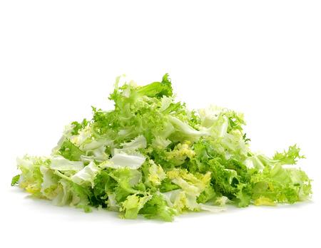 escarole: a pile of chopped escarole endive on a white background Stock Photo