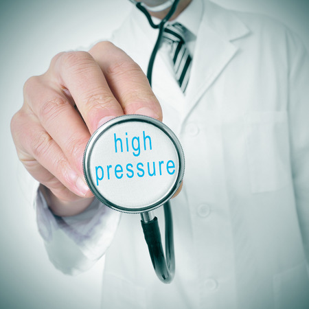 arterial: doctor with a stethoscope with the text high pressure written in it