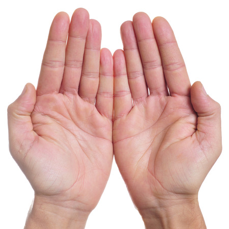poorness: the open hands of a man as showing or holding something, or begging