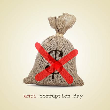 mafioso: a burlap money bag with two diagonal red slashes for the anti-corruption day