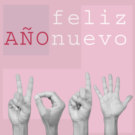 ano: the text feliz ano nuevo, happy new year in spanish, and man hands forming the number 2015, on a pink background, in a pop art style
