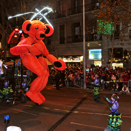 Barcelona, Spain - January 5, 2015: The Cavalcade of Magi in Barcelona, Spain. The Magi and their servants parade in floats by the main streets of the city