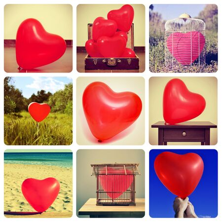photo pictures: a collage of different pictures, shot by myself, of heart-shaped balloons in different locations
