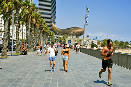 barcelona: Barcelona, Spain - August 19, 2014: People in the seafront in Barcelona, Spain. The sculpture of a fish in the background designed by Frank Gehry is one of the new landmarks in the city