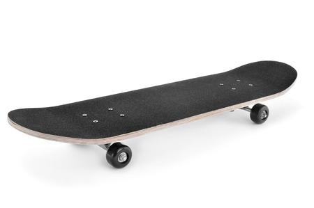 patinar: un monopatín en un fondo blanco