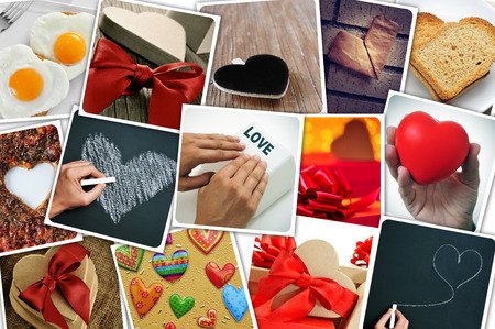 uploaded: a collage of different snapshots of hearts and heart-shaped things shot by myself, simulating a wall of snapshots uploaded to social networking services Stock Photo