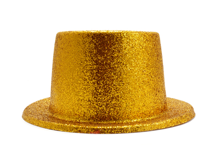 top hat: a bunch of festive golden balloons, one of them with a golden top hat, on a white background