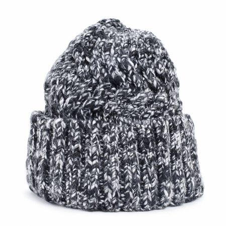 knit cap: a mottled knit cap on a white background