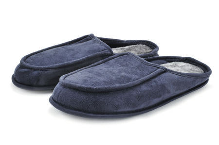 houseshoe: a pair of warm slippers on a white background Stock Photo