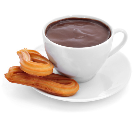 fritter: churros con chocolate, a typical Spanish sweet snack, on a white background Stock Photo