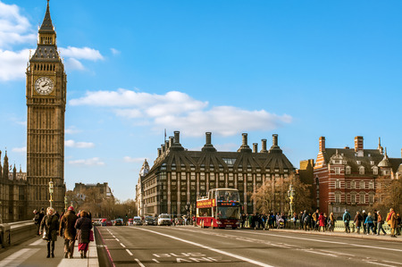 westminster bridge: London, UK - January 19, 2015: A view of the Big Ben from Westminster Bridge in London, United Kingdom. Thousands of people cross this bridge daily to get a good view of the Big Ben