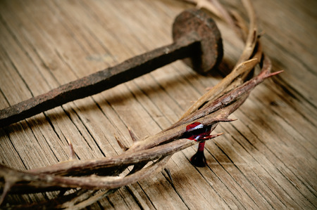 a depiction of the crown of thorns of Jesus Christ with blood and a nail on the Holy Cross