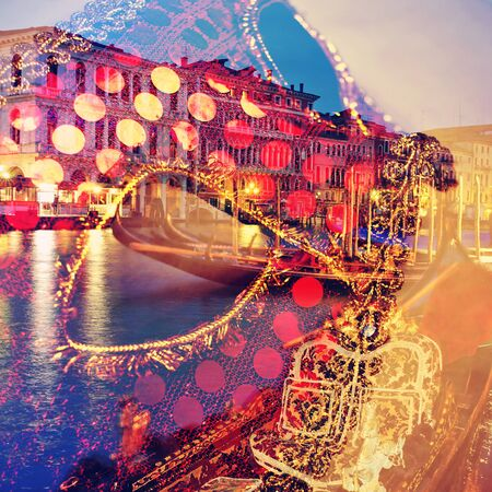 carnevale: a double exposure of a carnival mask and a canal in Venice, Italy